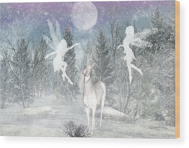 Winter Fairy Magic Fairies Wood Print featuring the digital art Winter fairy Magic by Lisa Roy
