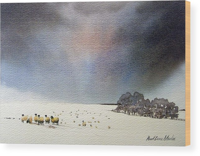 Landscape Wood Print featuring the painting Winter Snow Swaledale by Paul Dene Marlor