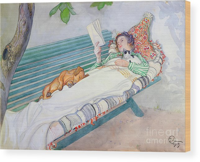 Woman Wood Print featuring the painting Woman Lying on a Bench by Carl Larsson
