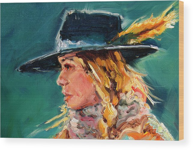 Cowgirl Wood Print featuring the painting Wyoming Cowgirl Close by Diane Whitehead