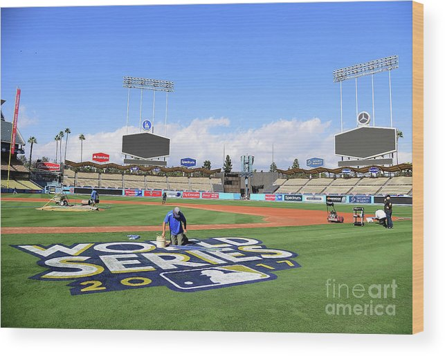 American League Baseball Wood Print featuring the photograph 2017 World Series Previews - Los by Harry How