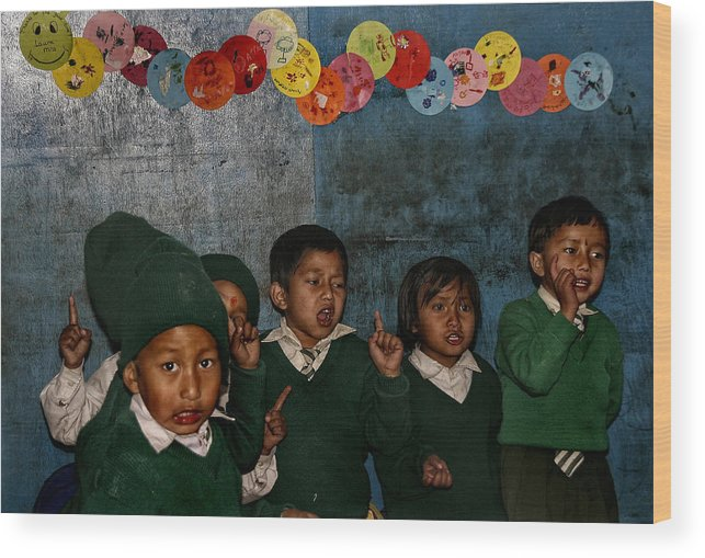 Nepal Wood Print featuring the photograph Classroom Song by Yvette Depaepe