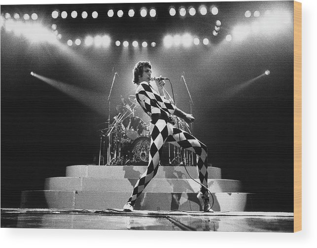 Freddie Mercury Wood Print featuring the photograph Freddie Mercury Of Queen by George Rose