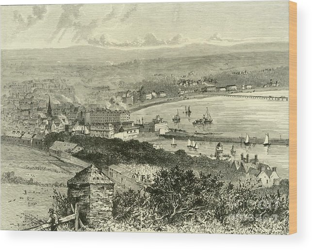 Event Wood Print featuring the drawing General View Of Douglas by Print Collector