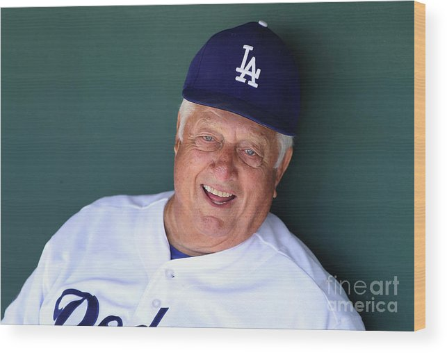 People Wood Print featuring the photograph Milwaukee Brewers V Los Angeles Dodgers by Christian Petersen