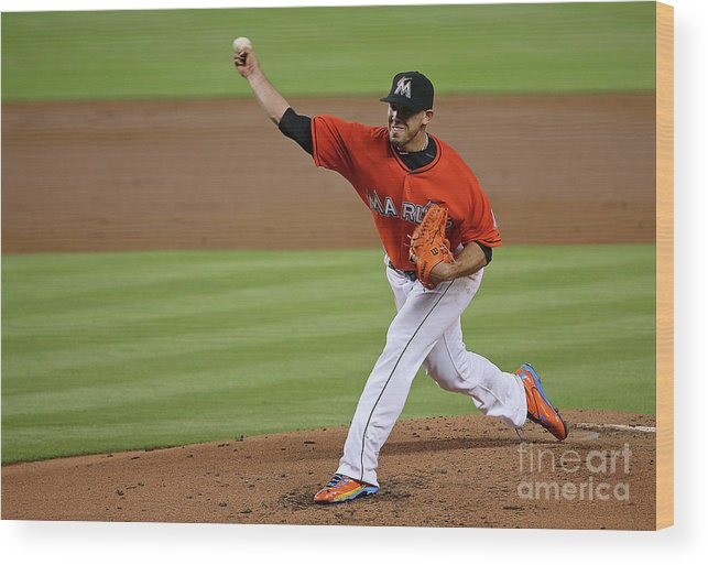 People Wood Print featuring the photograph San Francisco Giants V Miami Marlins by Mike Ehrmann