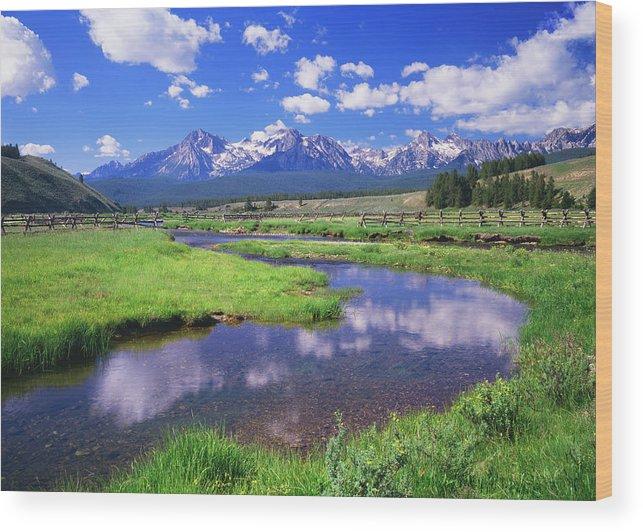 Scenics Wood Print featuring the photograph Sawtooth Mountain Range, Idaho by Ron thomas