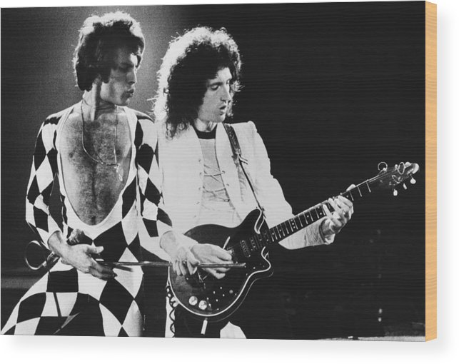 Rock Music Wood Print featuring the photograph The Rock Group Queen In Concert by George Rose