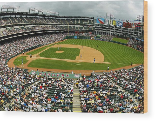 American League Baseball Wood Print featuring the photograph Tigers V Rangers by Ronald Martinez