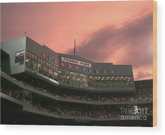 American League Baseball Wood Print featuring the photograph Toronto Blue Jays V Boston Red Sox by Elsa