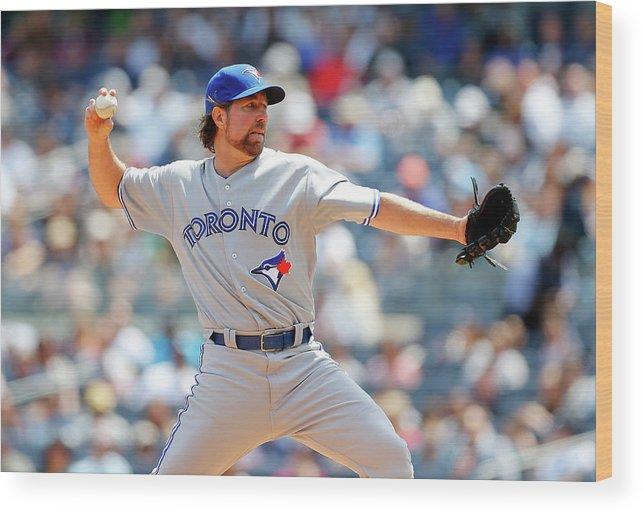 American League Baseball Wood Print featuring the photograph Toronto Blue Jays V New York Yankees by Jim Mcisaac