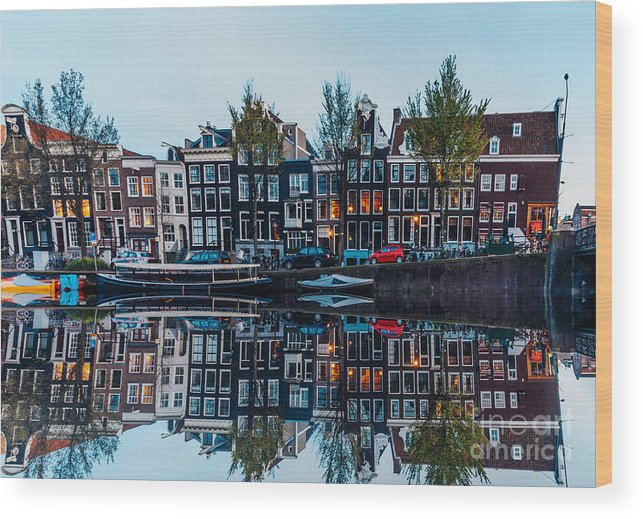 Arch Wood Print featuring the photograph Typical Dutch Houses Reflections by Serts