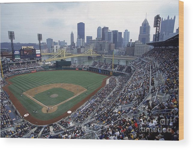 Pnc Park Wood Print featuring the photograph View Of Stadium by Jamie Squire