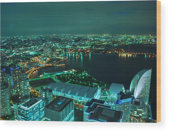 Yokohama Wood Print featuring the photograph Yokohama by Copyright Artem Vorobiev