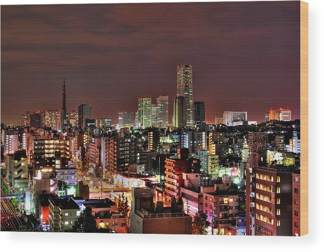 Tranquility Wood Print featuring the photograph Yokohama Nightscape by Copyright Artem Vorobiev