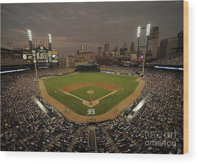 American League Baseball Wood Print featuring the photograph Cleveland Indians V Detroit Tigers by Mark Cunningham