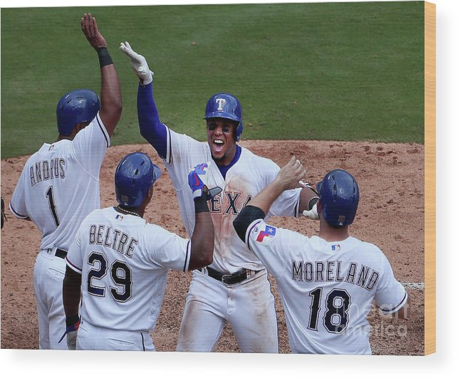 Adrian Beltre Wood Print featuring the photograph Seattle Mariners V Texas Rangers by Tom Pennington