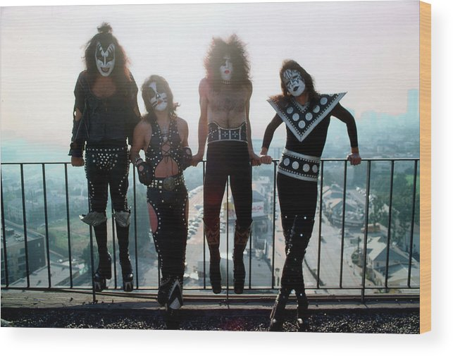 Rock Music Wood Print featuring the photograph Kiss Portrait Session In La by Michael Ochs Archives