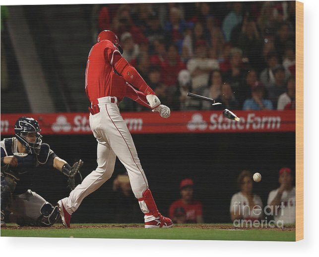 People Wood Print featuring the photograph New York Yankees V Los Angeles Angels by Victor Decolongon