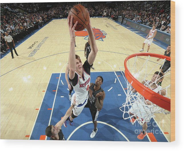 Nba Pro Basketball Wood Print featuring the photograph Brooklyn Nets V New York Knicks by Nathaniel S. Butler