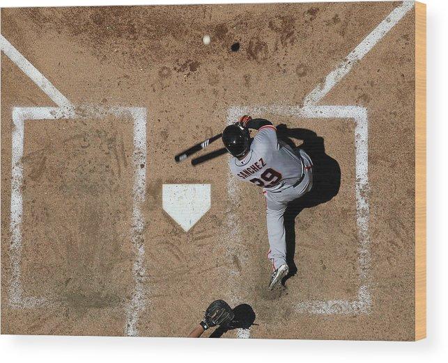 Héctor Sánchez Wood Print featuring the photograph San Francisco Giants V Arizona by Christian Petersen