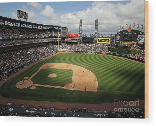 Shadow Wood Print featuring the photograph Kansas City Royals V Chicago White Sox by Jonathan Daniel
