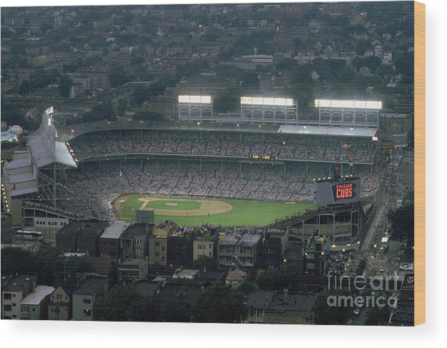 1980-1989 Wood Print featuring the photograph Wrigley Field by Jonathan Daniel