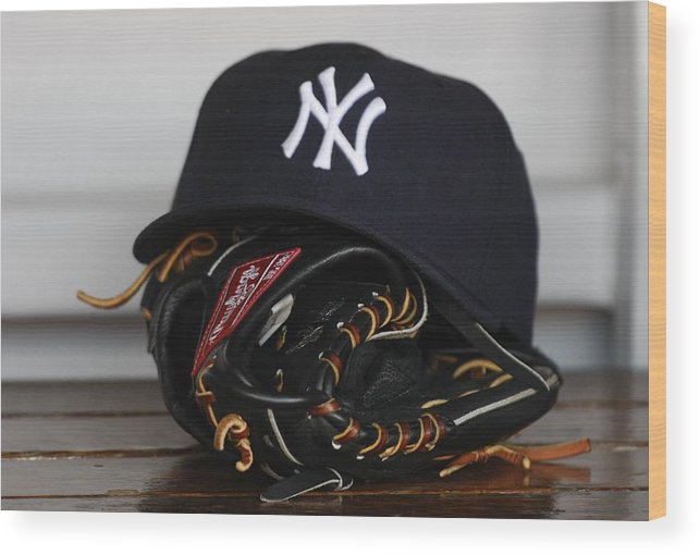American League Baseball Wood Print featuring the photograph New York Yankees V Florida Marlins by Ronald C. Modra/sports Imagery