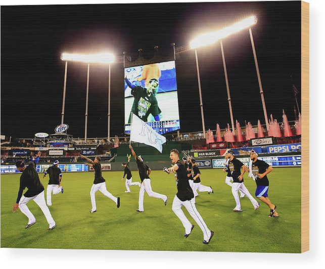 American League Baseball Wood Print featuring the photograph Division Series - Los Angeles Angels Of by Jamie Squire
