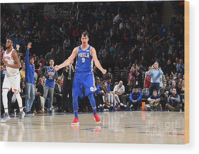 Description Wood Print featuring the photograph Philadelphia 76ers V New York Knicks by Jesse D. Garrabrant