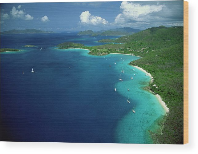 Sailboat Wood Print featuring the photograph Aerial View Of Shoreline by Don Hebert