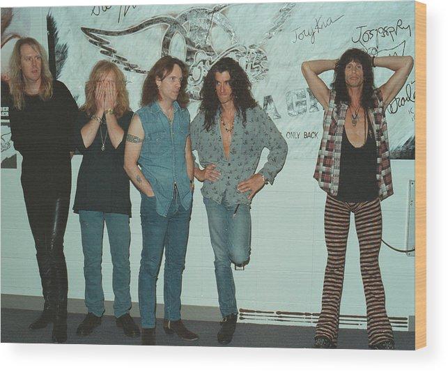 Tom Hamilton Wood Print featuring the photograph Aerosmith Backstage Portrait by Jim Steinfeldt