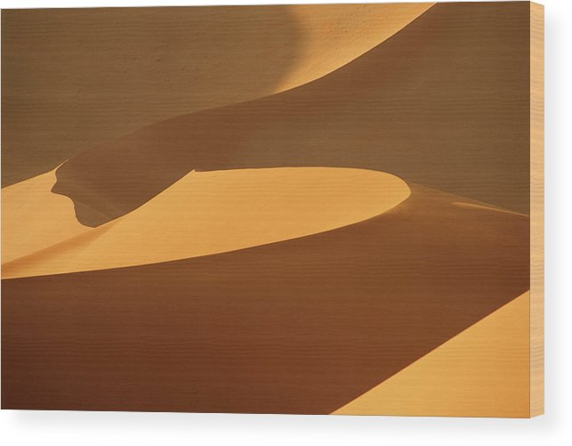 Shadow Wood Print featuring the photograph Africa, Namibia, Sand Dunes, Full Frame by Peter Adams