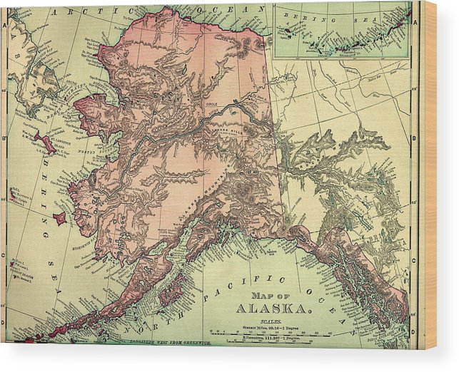 Engraving Wood Print featuring the digital art Alaska Old Map by Nicoolay