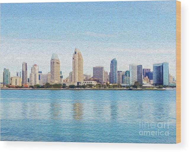 Art Wood Print featuring the digital art Americas Finest City by Kenneth Montgomery