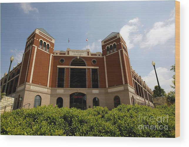 American League Baseball Wood Print featuring the photograph Ameriquest And Texas Rangers Strike by Ronald Martinez