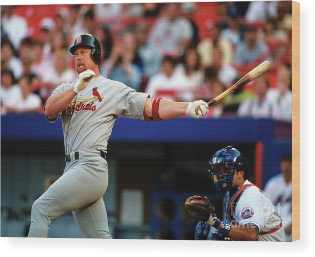 St. Louis Cardinals Wood Print featuring the photograph Baseball - Mark Mcgwire by Icon Sports Wire