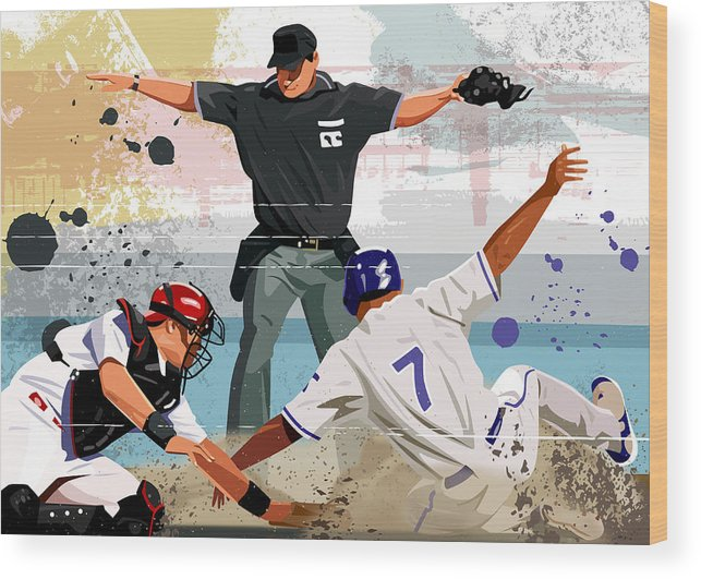 Helmet Wood Print featuring the digital art Baseball Player Safe At Home Plate by Greg Paprocki