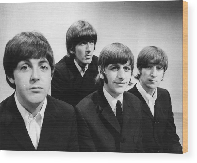 People Wood Print featuring the photograph Beatles At The Bbc by Central Press