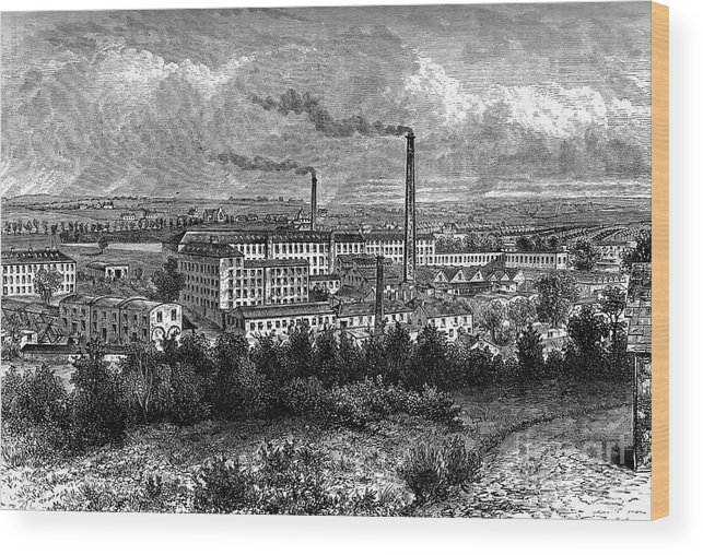 Engraving Wood Print featuring the drawing Bessbrook Mills And Village, County by Print Collector