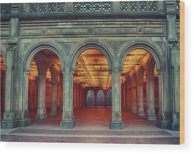 Arch Wood Print featuring the photograph Bethesda Terrace In Central Park - Hdr by Rontech2000
