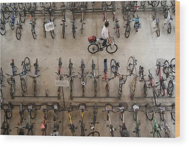 People Wood Print featuring the photograph Bicycle Park At Boon Lay Mrt Station by Kokkai Ng