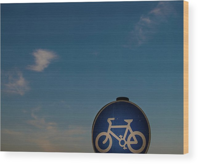 Outdoors Wood Print featuring the photograph Bicycle Sign With Sky by Photography By Stuart Mackenzie (disco~stu)