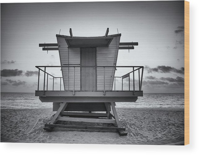 Outdoors Wood Print featuring the photograph Black And White Lifeguard Stand In by Boogich