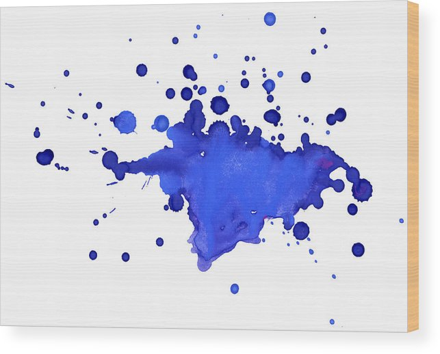 Art Wood Print featuring the photograph Blue Blobs On The Paper by Alenchi