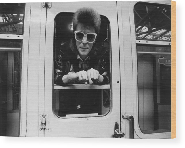 David Bowie Wood Print featuring the photograph Bowie On The Rails by Smith