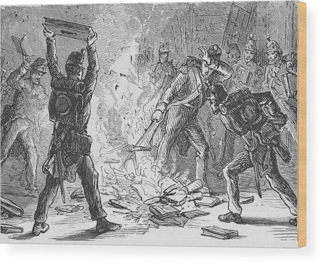 War Wood Print featuring the photograph British Soldiers Burning Books In by Kean Collection