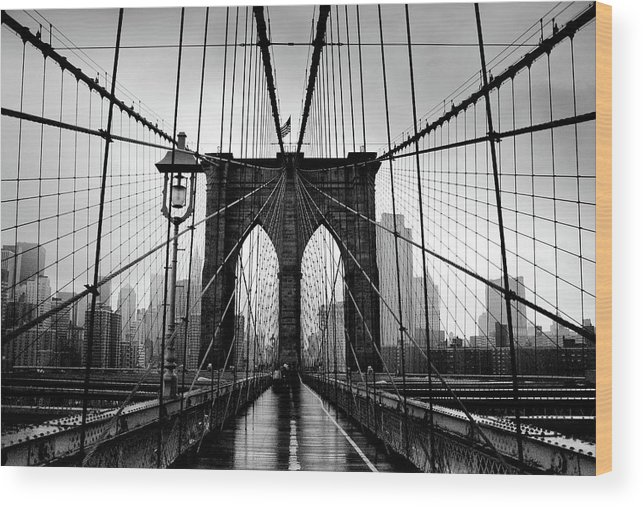 Clear Sky Wood Print featuring the photograph Brooklyn Bridge by Serhio.com Photography By Sergei Yahchybekov