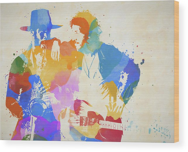 Bruce And The Big Man Wood Print featuring the painting Bruce And The Big Man Watercolor Splatter by Dan Sproul