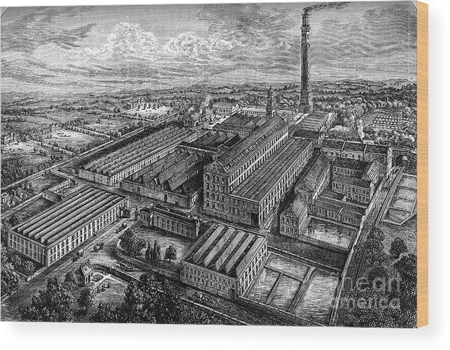 Working Wood Print featuring the drawing Camperdown Linen Works, Dundee, C1880 by Print Collector